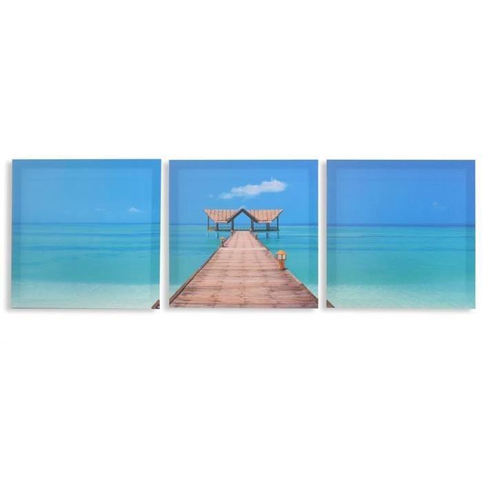 Set de 3 cadre toile tableau plage mer achat for Toile de plage ikea