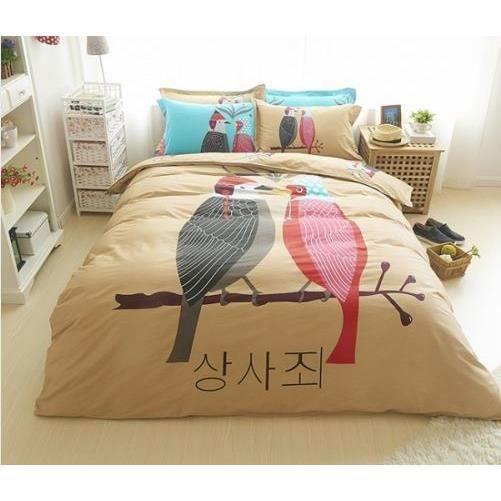 parure de lit 100 coton oiseaux egypte achat vente parure de drap les soldes sur. Black Bedroom Furniture Sets. Home Design Ideas
