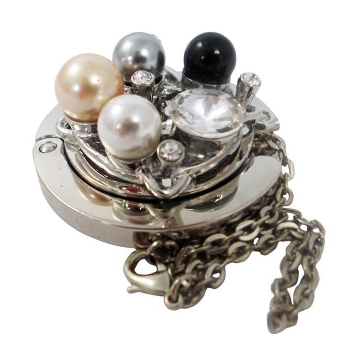 magnifique accroche sac porte sac clip sac mod le pliable luxe compact avec perles cr me. Black Bedroom Furniture Sets. Home Design Ideas