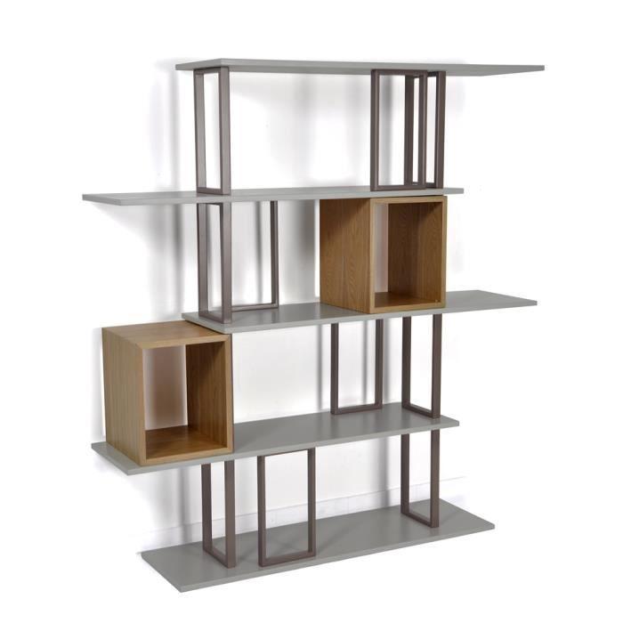 biblioth que swithome eug ne grise naturelle achat. Black Bedroom Furniture Sets. Home Design Ideas