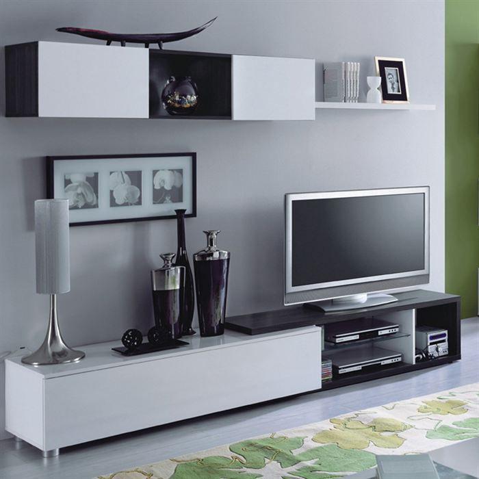 Naia meuble tv mural 240 cm blanc noir achat vente for Meuble salon gris et blanc
