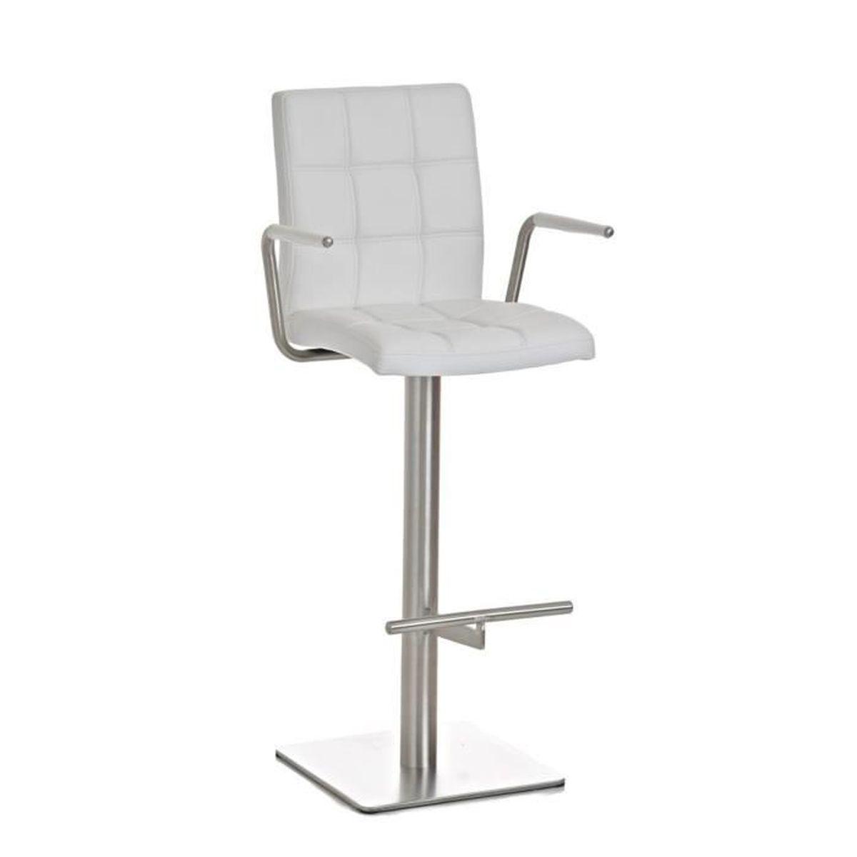 tabouret de bar en acier inoxydable avec si ge en similicuir blanc 116 x 53 x 52 cm achat. Black Bedroom Furniture Sets. Home Design Ideas
