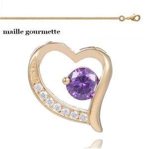 SAUTOIR ET COLLIER Chaîne maille Gourmette + Pendentif Coeur Améthyst