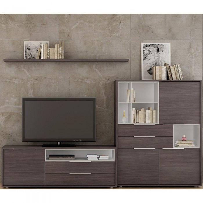 meuble rangement mural lana couleur marron mati achat vente meuble tv meuble rangement. Black Bedroom Furniture Sets. Home Design Ideas