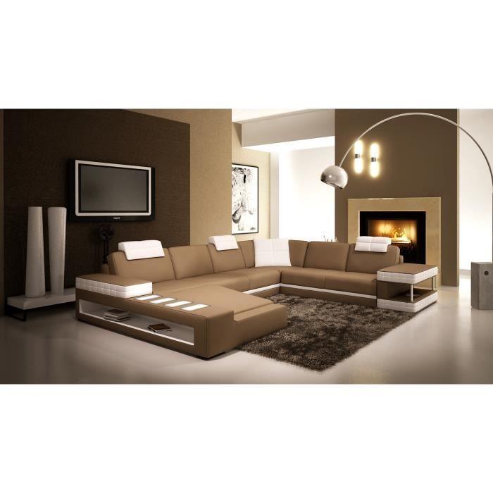 canap d 39 angle panoramique en cuir marron et blanc sinyo. Black Bedroom Furniture Sets. Home Design Ideas