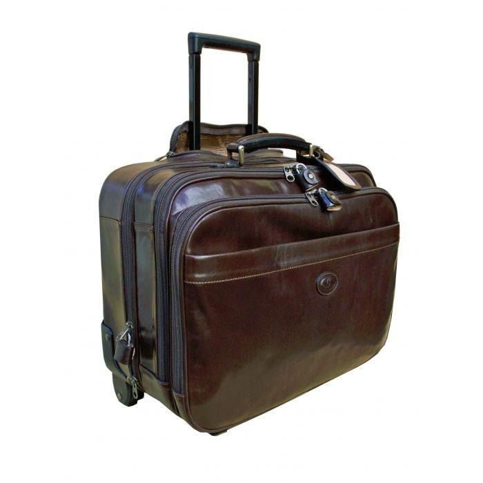 valise de cabine en cuir fauve avec trolley marron achat vente valise bagage 3760220250650. Black Bedroom Furniture Sets. Home Design Ideas
