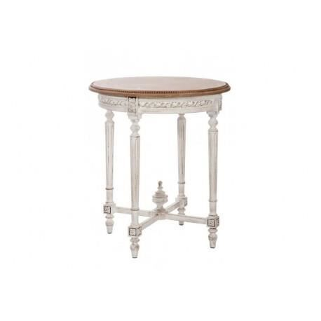 Table ronde bois taupe blanc 65x65x75cm jolipa achat for Table ronde bois blanc