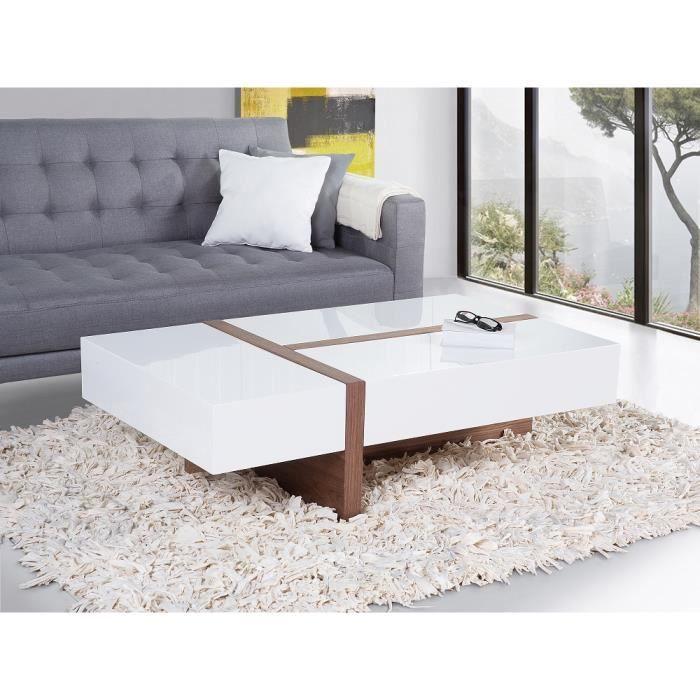 Table basse table de salon marron et blanc mirandela - Table basse qui se transforme en table haute ...