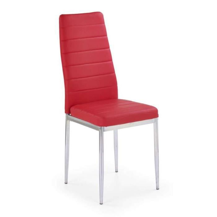 Justhome chaise salle manger k70c rouge h x l x p 97x43x49 cm achat - Chaise salle a manger rouge ...