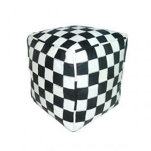 pouf en cuir blanc et noir design carreaux rem achat vente pouf poire cuir cdiscount. Black Bedroom Furniture Sets. Home Design Ideas