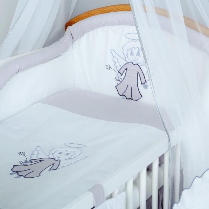 Tour de lit housse de couette b b taie 3 pcs gris for Housse tour de lit