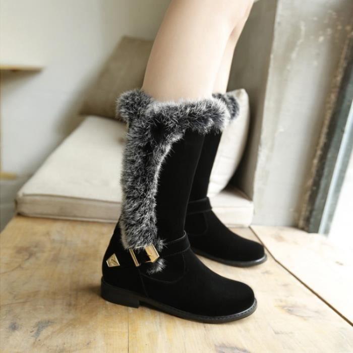 bottes de fourrure femme noire noir achat vente botte soldes cdiscount. Black Bedroom Furniture Sets. Home Design Ideas