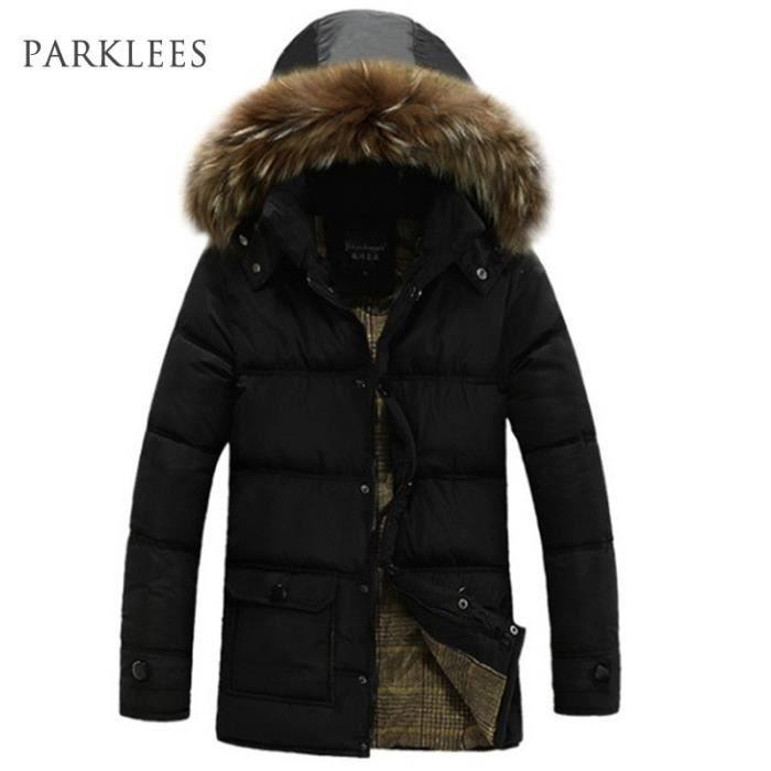 parka homme fourrure capuche hiver marque doudoune manteau homme bleu parka hommes noir achat. Black Bedroom Furniture Sets. Home Design Ideas