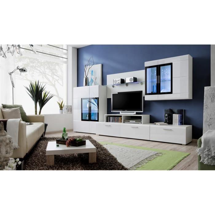Meuble de salon tv mural kromp iii moderne blanc 300 cm for Salon meuble 5 etoiles