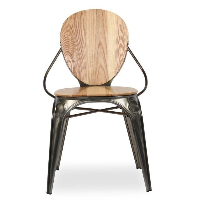 Chaise ovei metal wood fer ancien unique achat vente chaise cdiscount - Chaises de style ancien ...