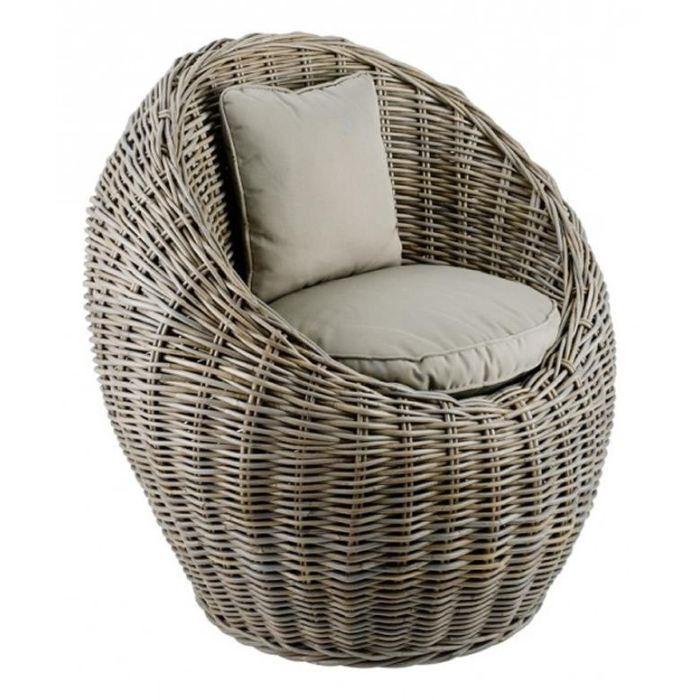fauteuil coquille en kubu tek import achat vente fauteuil gris cdiscount. Black Bedroom Furniture Sets. Home Design Ideas
