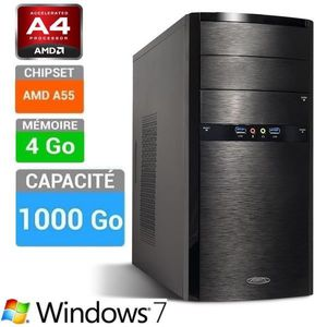 UNITÉ CENTRALE  PC Bureau A4 4000 assemblé Windows 7 / 4 Go / 1 To