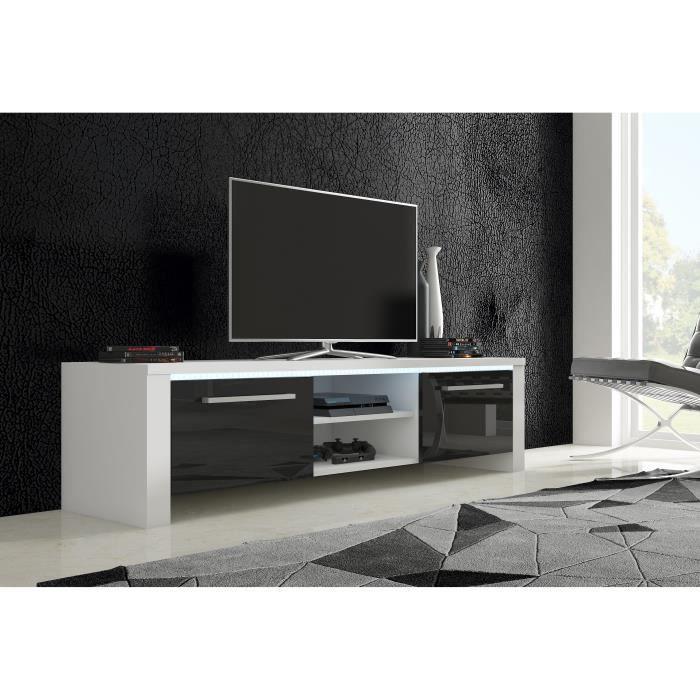 meuble tv alex blanc mat noirbrillant achat vente meuble tv meuble tv alex blanc mat no. Black Bedroom Furniture Sets. Home Design Ideas
