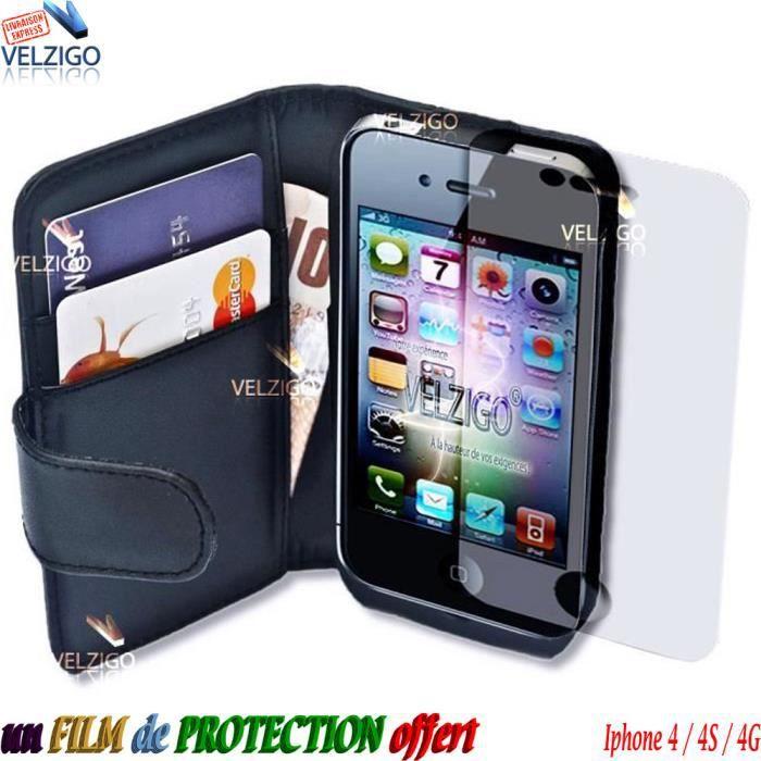 velzigo coque pour iphone 4 4s 4g cuir portefeuille pas. Black Bedroom Furniture Sets. Home Design Ideas