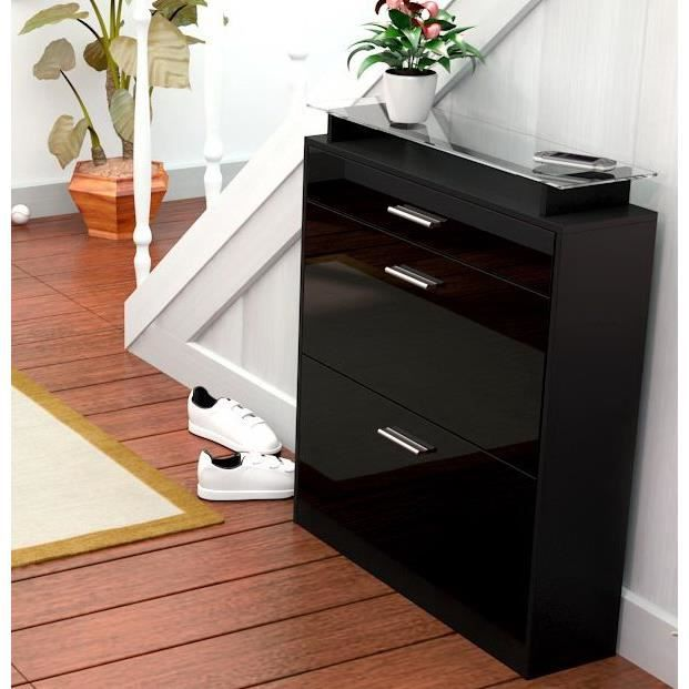 meuble chaussure noir laque achat vente meuble chaussure noir laque pas cher les soldes. Black Bedroom Furniture Sets. Home Design Ideas