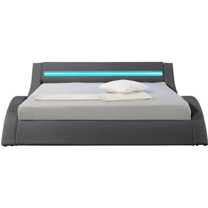 hypnia lit design led gris 160 x 200 cm achat vente barbecue hypnia lit design led. Black Bedroom Furniture Sets. Home Design Ideas