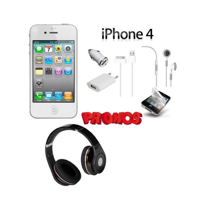 iphone 4 8go blanc pack casque stereo smartphone prix. Black Bedroom Furniture Sets. Home Design Ideas