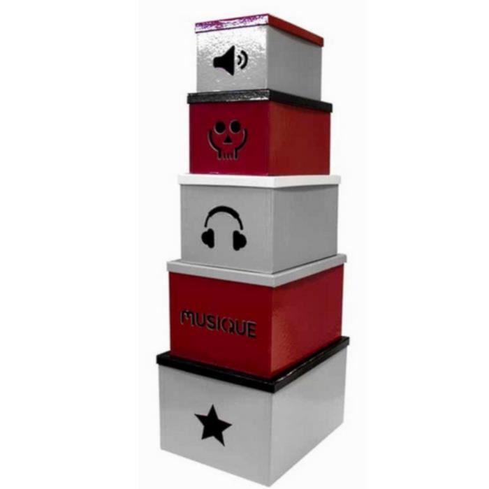 lot de 5 boite de rangement motif musique deco achat. Black Bedroom Furniture Sets. Home Design Ideas