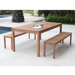 Salon de jardin bois 1 table 1m80 2 bancs achat for Salon de jardin en bois exotique