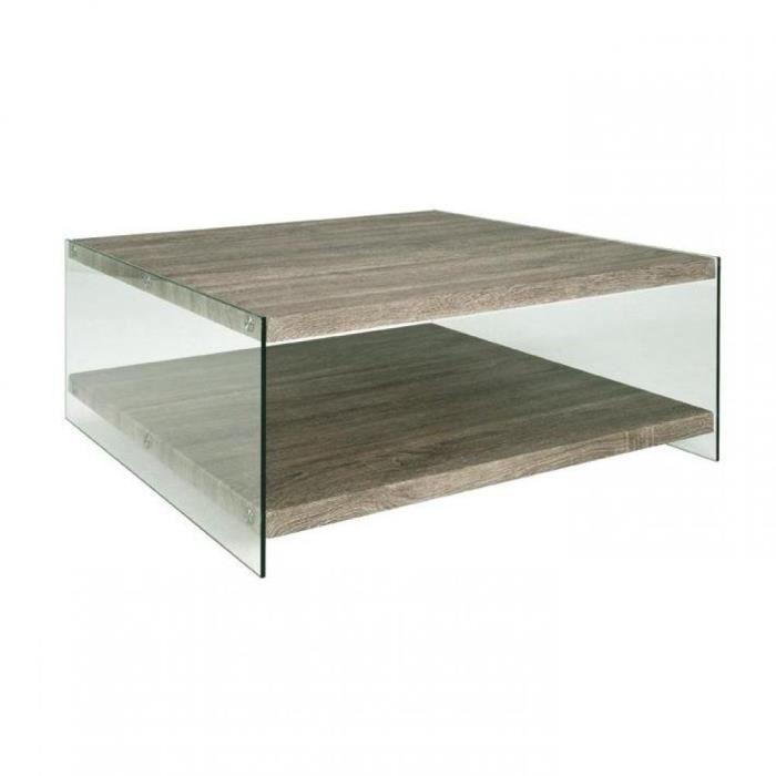 Table basse nina en verre et ch ne gris achat vente - Table basse chene et verre ...