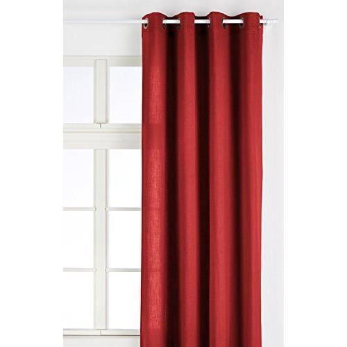 Linder 0517 69 375fr rideau toile aspect lin rouge for Rideau linder