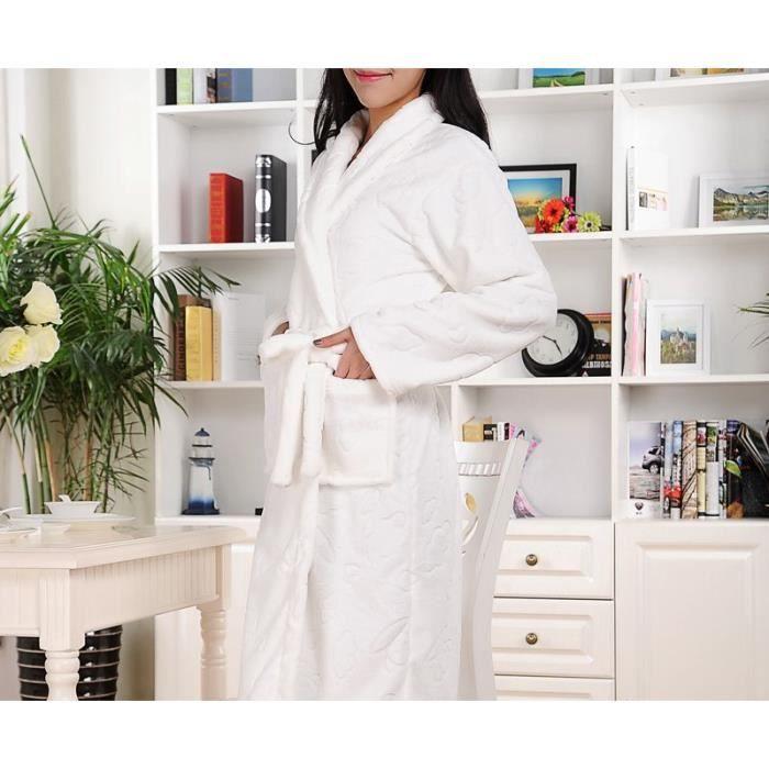 robe de chambre luxe polaire femme blanche motifs achat vente robe de chambre cdiscount. Black Bedroom Furniture Sets. Home Design Ideas