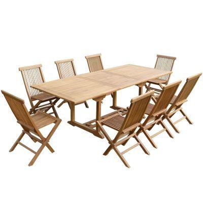 Salon De Jardin En Teck Naturel Table 8 Chaises Achat