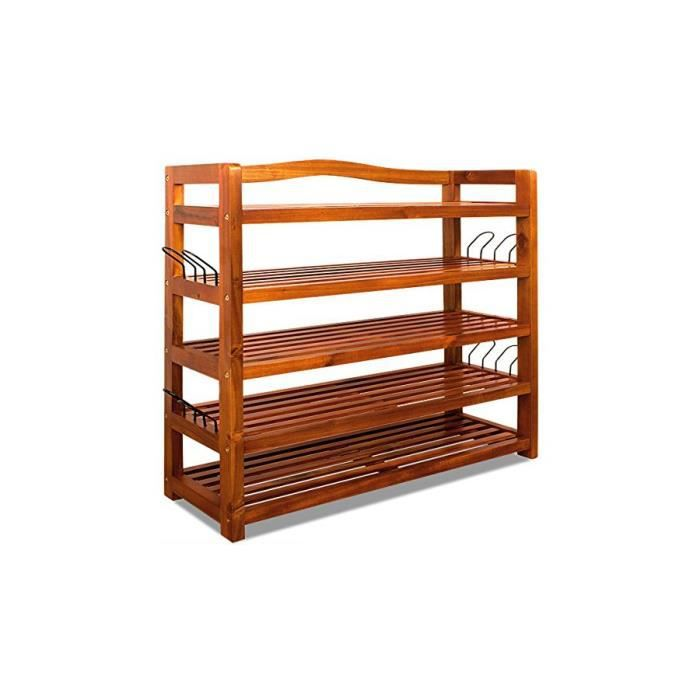 Superbe etag re chaussures rack 5 tages acacia bois for Tablette bois acacia