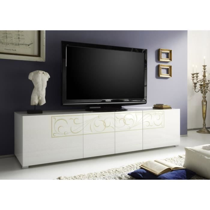 meuble tv blanc laqu paloma achat vente meuble tv. Black Bedroom Furniture Sets. Home Design Ideas