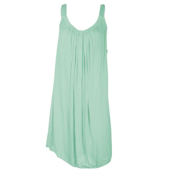 robe courte d 39 t en coton pretina vert clair taille unique 36 40 achat vente robe. Black Bedroom Furniture Sets. Home Design Ideas