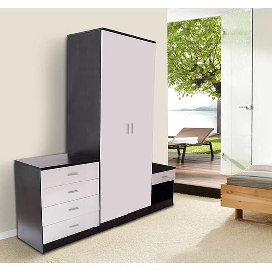 Ensemble de meuble pour chambre mdf noir et blanc neuf 12 for Meuble noir chambre