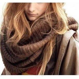 Femme Homme Hiver Tricot Torsadé Écharpe Cercle... Brun - Achat / Vente echarpe - foulard ...