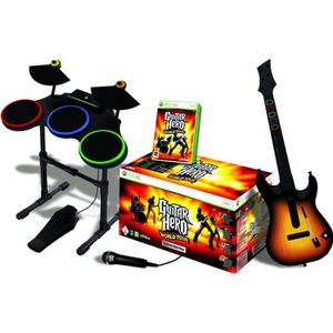 JEUX XBOX 360 SUPERPACK GUITAR HERO WORLD TOUR (batterie + guita