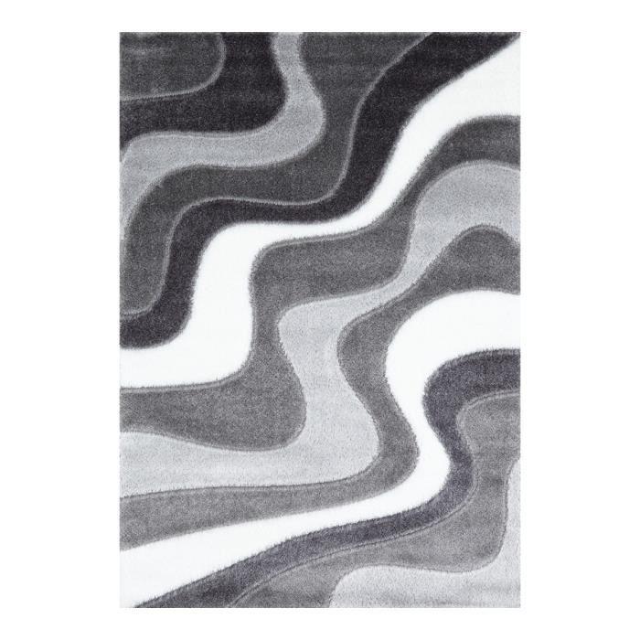 Allotapis tapis design gris shaggy octavio 200x290cm - Tapis shaggy gris 200x290 ...