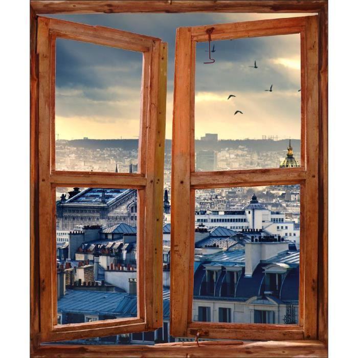 sticker mural fen tre trompe l oeil d co les toits de. Black Bedroom Furniture Sets. Home Design Ideas