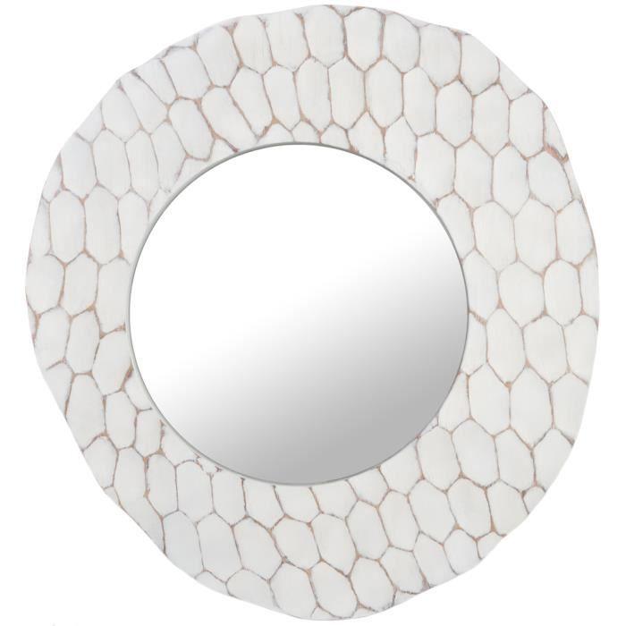 Miroir rond asym trique coloris blanc achat vente for Miroir blanc rond