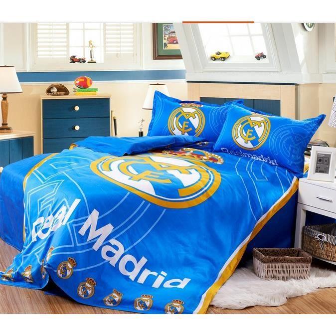 parure de lit football real madrid club de f tbol pour 2 personnes coton 200 230cm 4 pieces. Black Bedroom Furniture Sets. Home Design Ideas