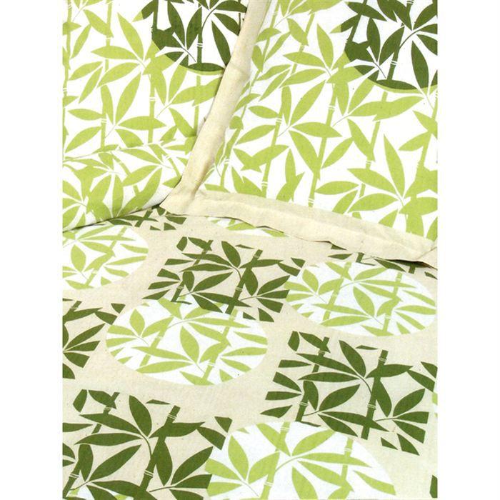 Parure housse de couette bambou vert achat vente for Housse de couette bambou