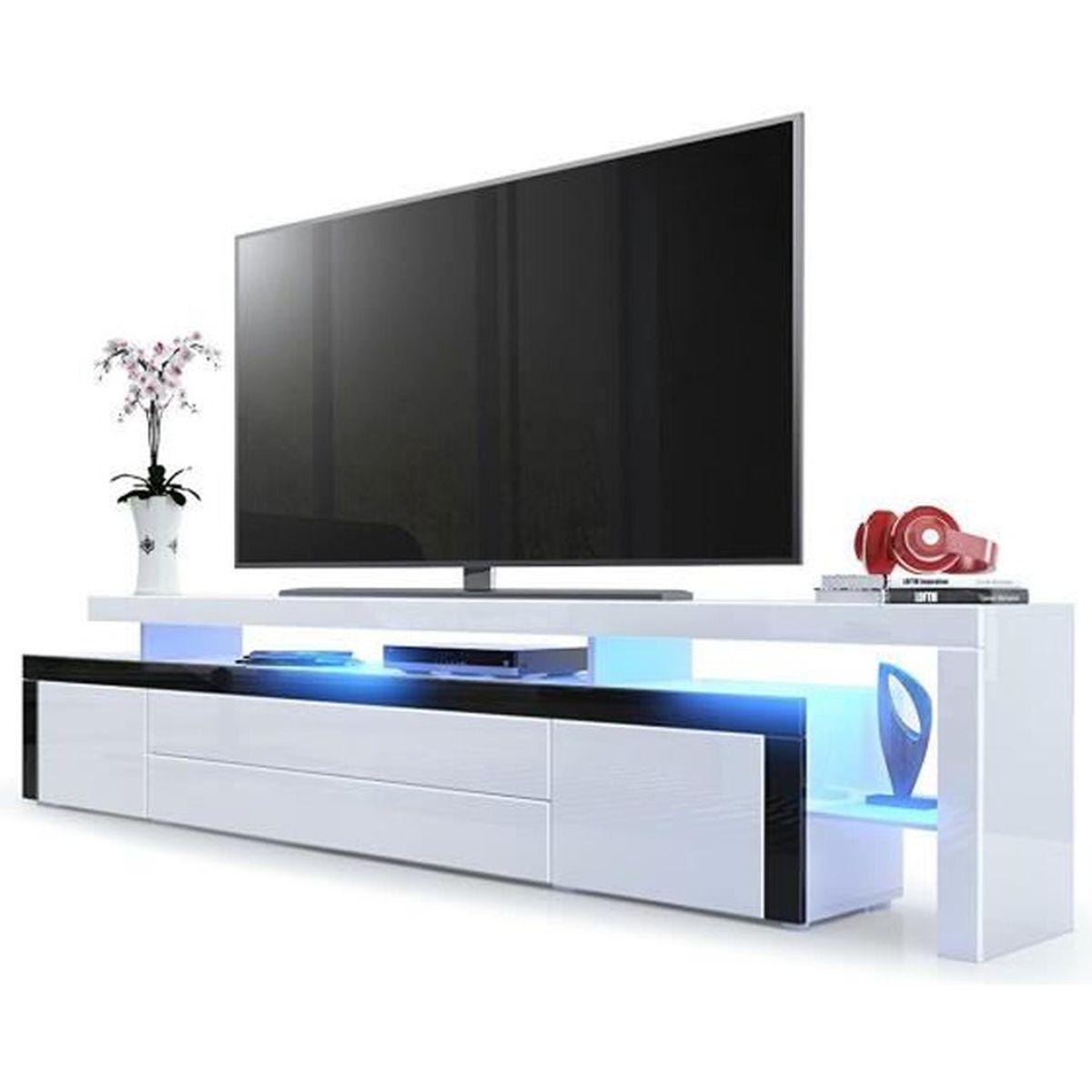 Meuble tv bas corps en blanc haute brillance bordure en for Meuble tv blanc haut