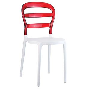 Chaise MALY Polycarbonate Rouge-Blanc