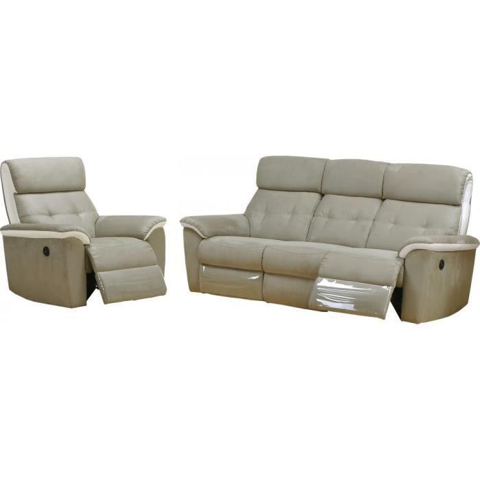 Salon relax lectrique antonia cuir blanc et microfibre gris 3 1 achat ve - Salon relax electrique microfibre ...