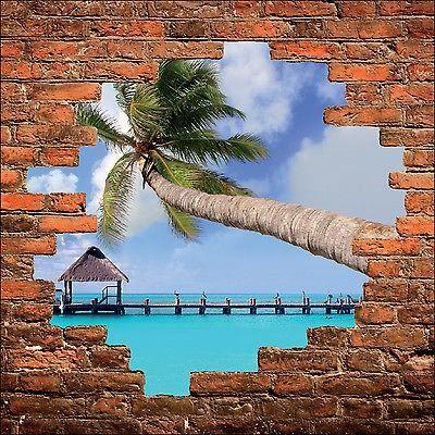sticker mural trompe l oeil mur de pierre d co les tropiques palmier r f 892 dimensions. Black Bedroom Furniture Sets. Home Design Ideas