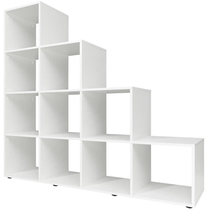 Tag re escalier 10 cases type 20 139x32x141cm design moderne blanc ach - Etagere escalier blanc ...