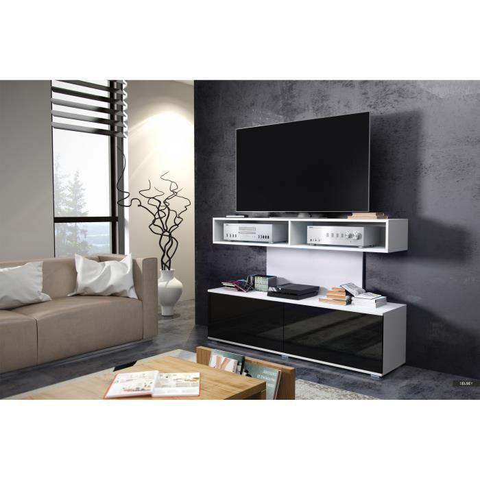 Cabinet rtv space blanc mat noir brillant achat vente meuble tv cabinet r - Meuble tv noir brillant ...