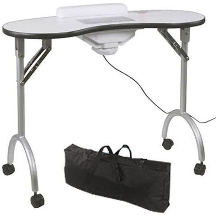 Table manucure pliable roulettes acier alu aspirateur collecteur housse r - Table de massage alu ...
